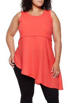 Plus Size Cut Out Back Asymmetrical Top - 0910058752413