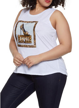 Plus Size Rhinestone Savage Graphic Tank - 0910058752833