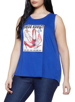 Plus Size Shoe Addict Graphic Tank Top - 0910058752834