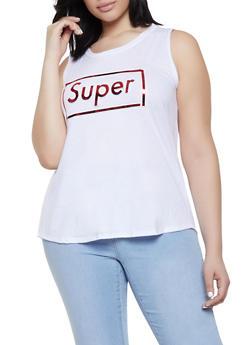 Plus Size Super 3D Foil Graphic Tank Top - 0910058752835