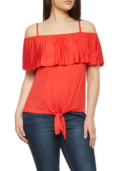 Plus Size Off the Shoulder Tie Front Top - 0910058753105