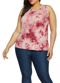 Plus Size Tie Dye Tank Top - 0910058753708