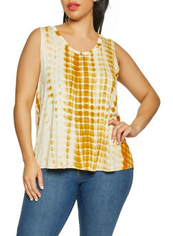 Plus Size Tie Dye Tank Top - 0910058753709
