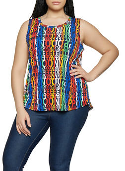Plus Size Text Print Tank Top - 0910058753728
