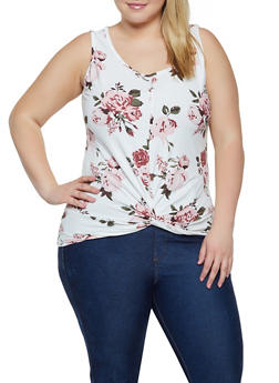 Plus Size Sleeveless Floral Twist Front Top - 0910060583685