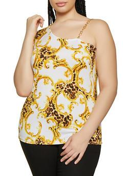 Plus Size Status Print Chain Strap Sleeveless Top - 0910062120510