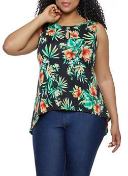Plus Size Floral High Low Keyhole Top - 0910062121710