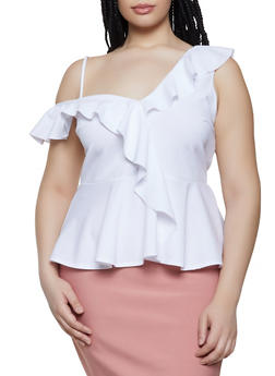 Plus Size Asymmetrical Ruffle Top - 0910062122602