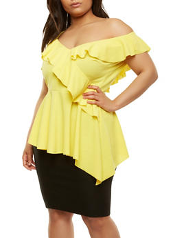 Plus Size One Shoulder Ruffle Top - 0910062125013