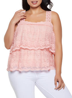 Plus Size Tiered Embroidered Mesh Top - 0910062125195