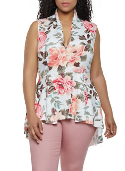 Plus Size Floral Scuba High Low Top - 0910062128118