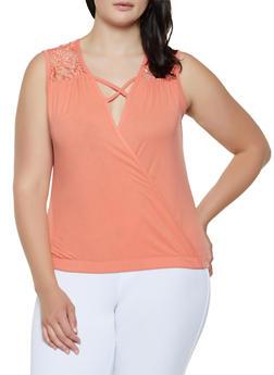 Plus Size Lace Yoke Faux Wrap Top - 0910062702856