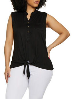 Plus Size Half Button Tie Front Top - 0910062702886