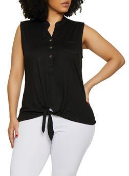 Plus Size Half Button Tie Front Top - 0910062702886