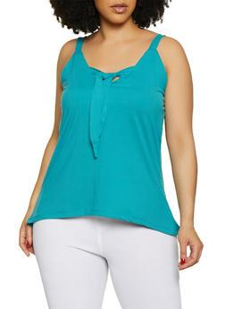 Plus Size Sleeveless Tie Front Top - 0910062702889