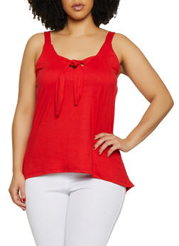 Plus Size Sleeveless Tie Front Top - 0910062702889