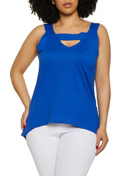 Plus Size Sleeveless Keyhole Top - 0910062702890