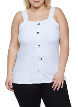 Plus Size Sleeveless Faux Button Front Top - 0910062702891