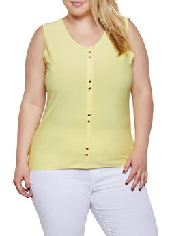 Plus Size Sleeveless Studded Detail Top - 0910062705520