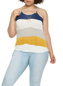 Plus Size Striped Tank Top with Necklace - 0910062706586