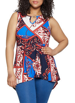 Plus Size Printed Keyhole Peplum Top - 0910066597019