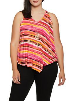 Plus Size Striped Asymmetrical Hem Top with Necklace - 0910066597025