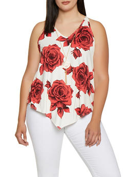 Plus Size Floral Asymmetrical Top with Necklace - 0910066597026
