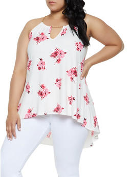 Plus Size Floral Chain Strap High Low Top - 0910066597027