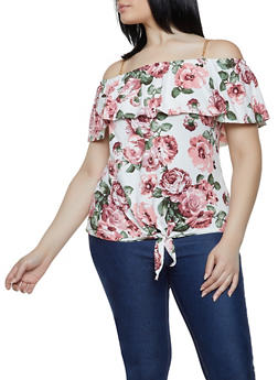 Plus Size Tie Front Floral Off the Shoulder Top - 0910066597033