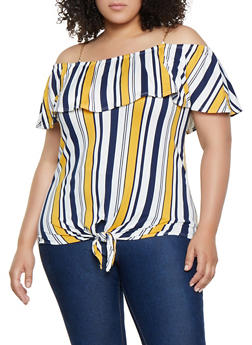 Plus Size Chain Strap Off the Shoulder Striped Top - 0910066597036