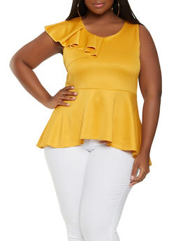Plus Size Ruffled Peplum Top - 0910072246688