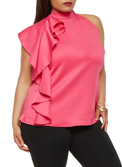 Plus Size Ruffle Side Top - 0910072246704