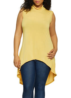 Plus Size Sleeveless High Low Top - 0910074015760