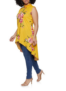 Plus Size Floral Mock Neck High Low Top - 0910074015762