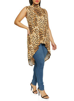 Plus Size High Low Leopard Print Top - 0910074015763