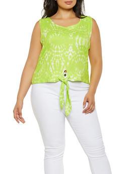 Plus Size Tie Dye Soft Knit Top - 0910074015765