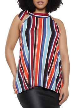 Plus Size Striped Side Tie Neck Top - 0910074015770