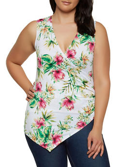 Plus Size Floral Print Knit Tops