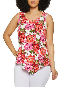 Plus Size Floral Soft Knit Sleeveless Top - 0910074015774