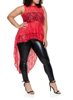 Plus Size Tiered Lace High Low Top - 0910074015852