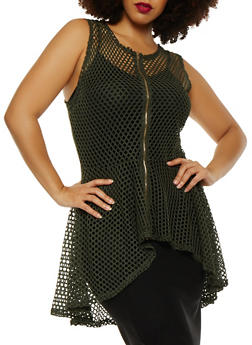 Plus Size Laser Cut Zip Front Peplum Top - 0910074280449