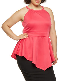 Plus Size Scuba Knit Peplum Top - 0910074280590