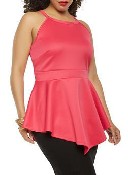 Plus Size Scuba Knit Peplum Top - 0910074280590