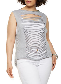 Plus Size Slashed High Low Top - 0910074285102
