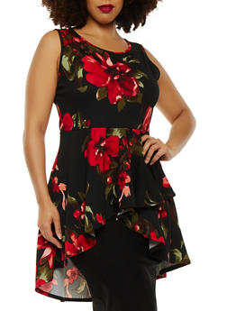Plus Size Floral High Low Top - 0910074285921