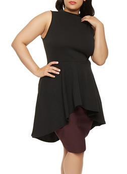 Plus Size Asymmetrical High Low Top with Ruffles - 0910074285922