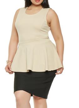 Plus Size High Low Peplum Top - 0910074285924