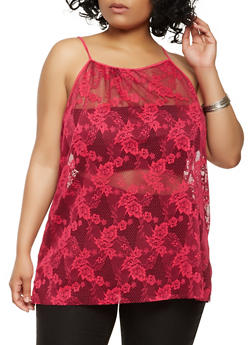 Plus Size Floral Lace Tank Top - 0910074287130