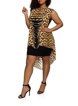 4be0db95e48b Plus Size Leopard Slashed High Low Top - 0910074288044