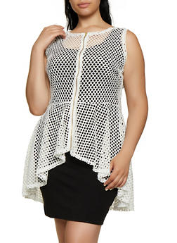 Plus Size Zip Front High Low Fishnet Top - 0910074289581